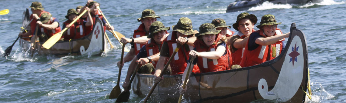 RMC officer cadets paddle boat in First Year Regatta