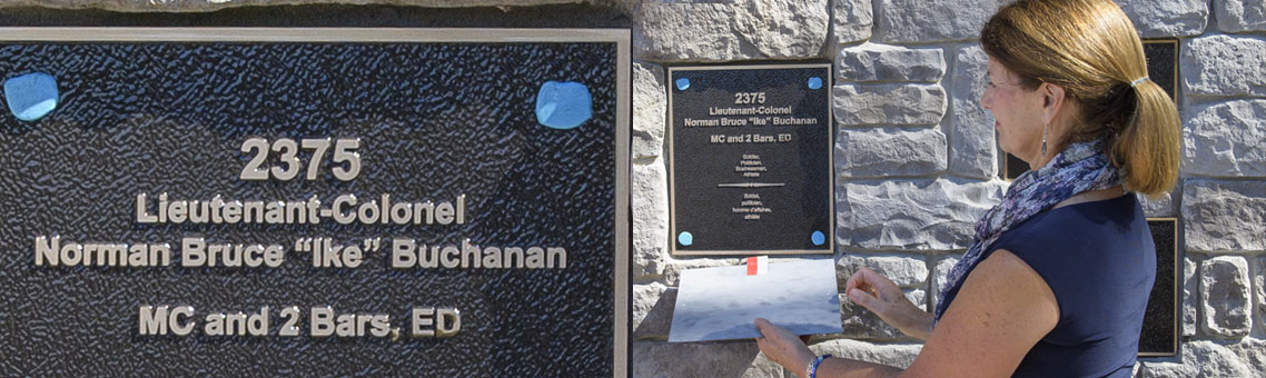 Plaque: 2375 Lieutenant-Colonel Norman Bruce Ike Buchanan, MC and 2 Bars, ED, Soldier, Politician, Businessman, Athlete