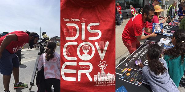 Des étudiants en astrophysique accueillent les jeunes participants et aide un à observer le soleil en toute sécurité.