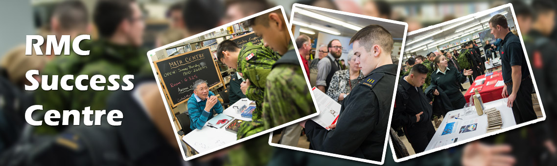 Cadets and staff receiving information at display tables in the RMC Success Centre