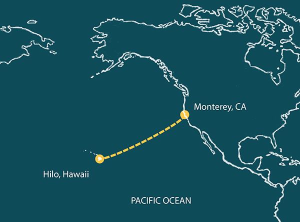 Pacific Ocean route from Monterey, California to Hilo, Hawaii