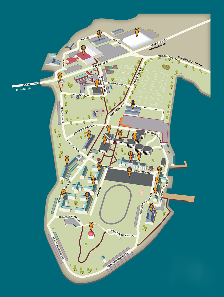 Map of RMC showing buildings, walking paths, and parking zones