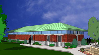 Artistic rendering of Birchall Pavilion south-east corner
