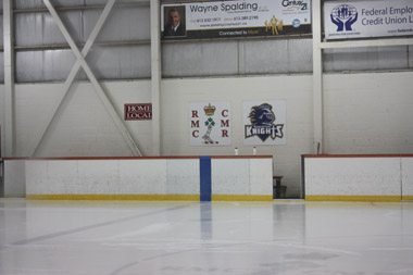 View of the home bench from across the ice