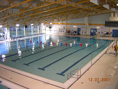 View of the large pool and diving board from the viewing area