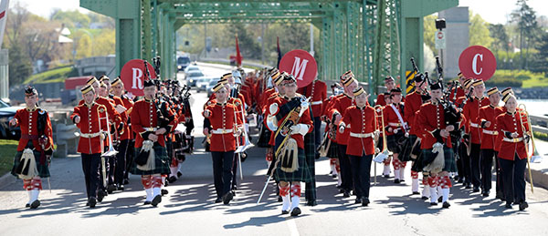 The RMC Band marching across the LaSalle Causeway