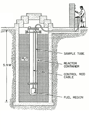 Schematic of the SLOWPOKE-2 Nuclear Reactor showing the sample tube, reactor container, control rod cable, and fuel region