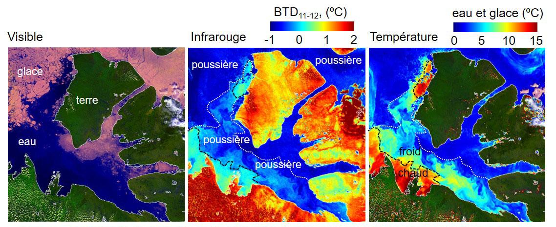 Images Satellite En Visible Et Infrarouge 09 Juillet 2016 Montrant Les Dpts De Poussire Dans Le Dtroit DAmundsen Effets Sur La Temperature
